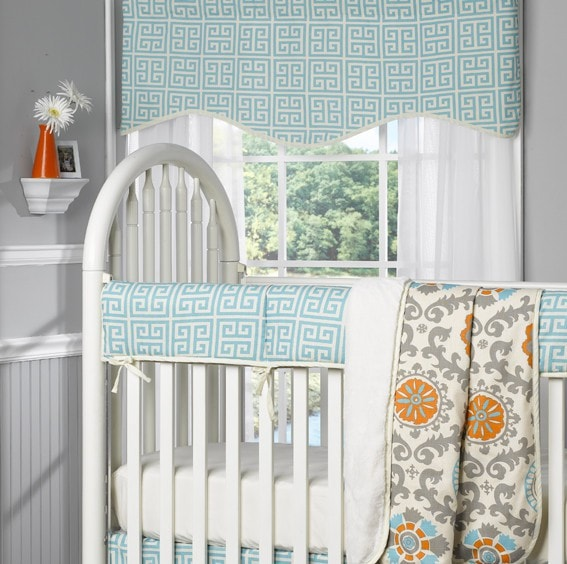 Aqua Greek Key Window Treatments - liz-and-roo-fine-baby-bedding.myshopify.com - 1