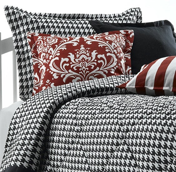 Black and White Houndstooth Bedding Set (Twin Only) - liz-and-roo-fine-baby-bedding.myshopify.com