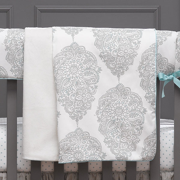Harper (Taupe and Aqua) Minky Receiving Blanket - liz-and-roo-fine-baby-bedding.myshopify.com - 1