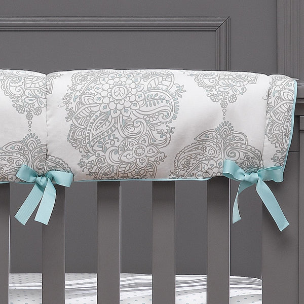 Harper (Taupe and Aqua) Crib Rail Cover - liz-and-roo-fine-baby-bedding.myshopify.com - 1