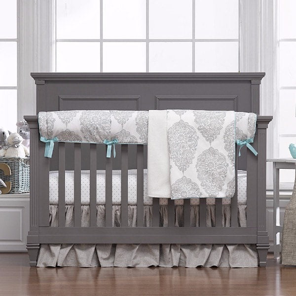 Harper (Taupe and Aqua) Bumperless Crib Bedding - liz-and-roo-fine-baby-bedding.myshopify.com - 1