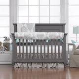 Harper (Taupe and Aqua) Crib Rail Cover - liz-and-roo-fine-baby-bedding.myshopify.com - 2
