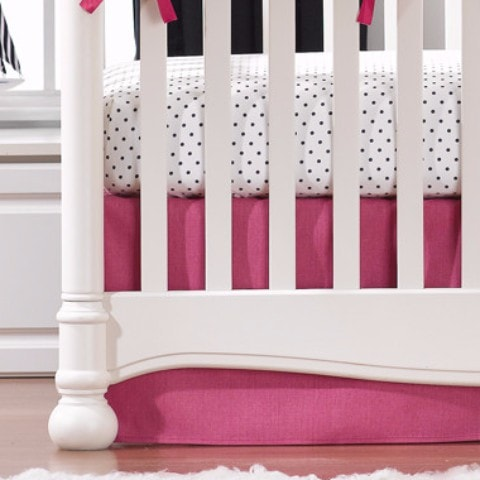 "Hot Pink Crib Skirt 17"" Drop - liz-and-roo-fine-baby-bedding.myshopify.com"