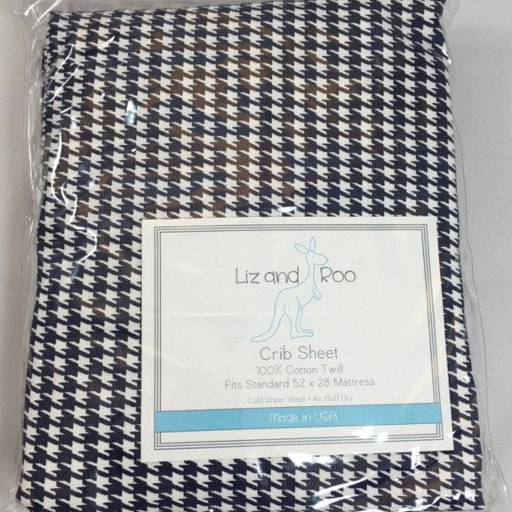 Navy Houndstooth Crib Sheet - liz-and-roo-fine-baby-bedding.myshopify.com