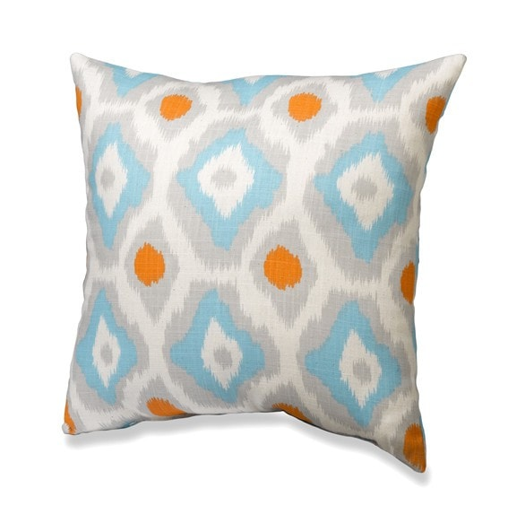 Aztec Ikat Mandarin Throw Pillows - liz-and-roo-fine-baby-bedding.myshopify.com