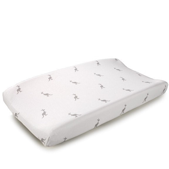 Gray Kangaroo Contoured Changing Pad Cover - liz-and-roo-fine-baby-bedding.myshopify.com