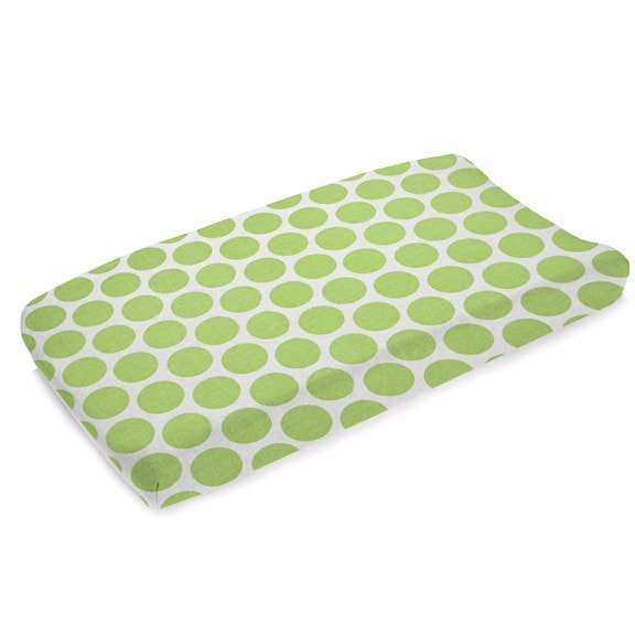 Kiwi Dot Contoured Changing Pad Cover - liz-and-roo-fine-baby-bedding.myshopify.com
