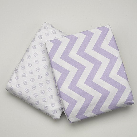 Lavender Chevron Crib Skirt - liz-and-roo-fine-baby-bedding.myshopify.com