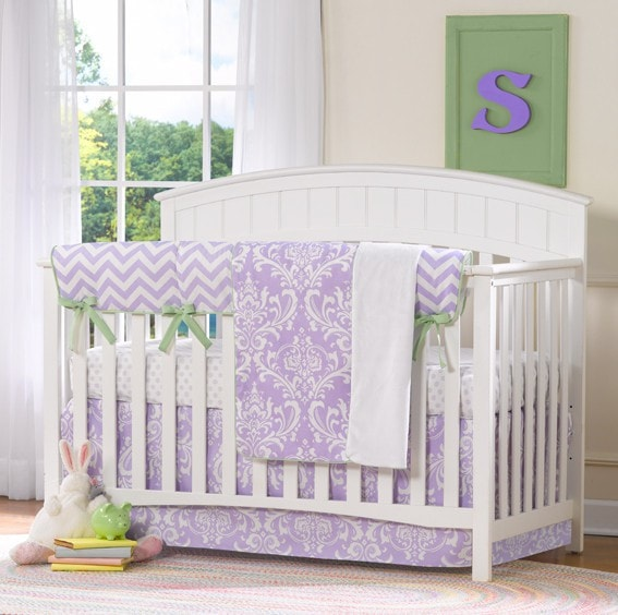 Lavender Damask Bumperless Crib Bedding - liz-and-roo-fine-baby-bedding.myshopify.com