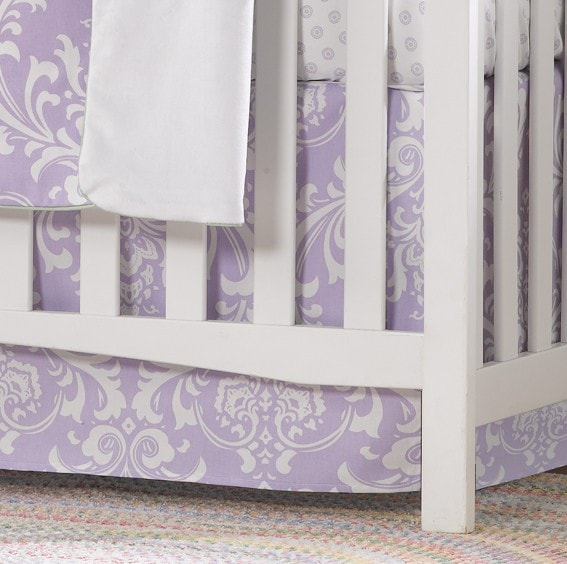 "Lavender Damask Crib Skirt 17"" Drop - liz-and-roo-fine-baby-bedding.myshopify.com"