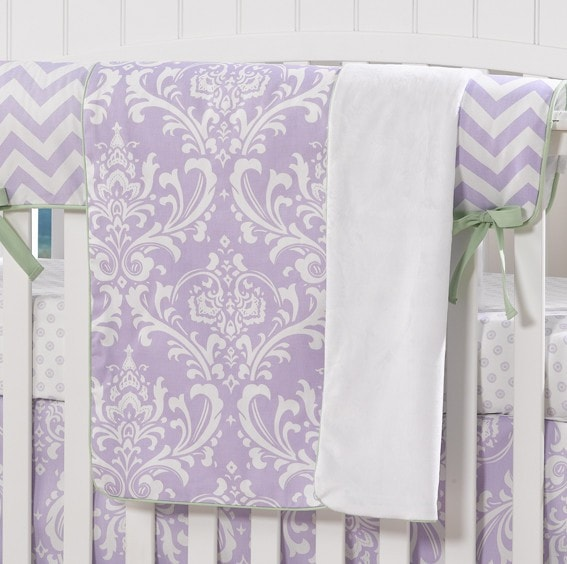 Lavender Damask with Mint Trim Minky Blanket - Second - liz-and-roo-fine-baby-bedding.myshopify.com