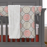 Garden Gate Bumperless Crib Bedding (Coral Skirt) - liz-and-roo-fine-baby-bedding.myshopify.com - 2