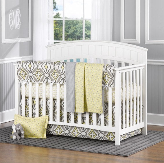 Eden (Gray and Yellow) Bumperless Crib Bedding - liz-and-roo-fine-baby-bedding.myshopify.com