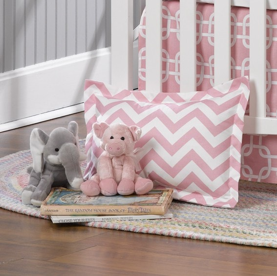 Pink Chevron Baby Pillow Sham - liz-and-roo-fine-baby-bedding.myshopify.com