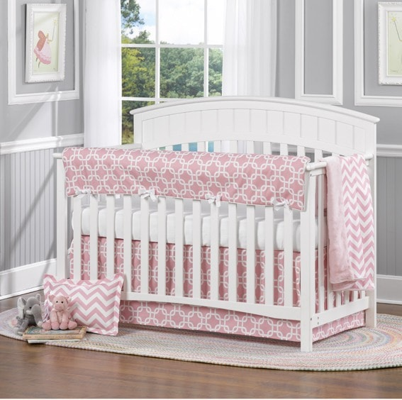 Pink Metro 4-pc. Crib Bedding Set - liz-and-roo-fine-baby-bedding.myshopify.com - 1