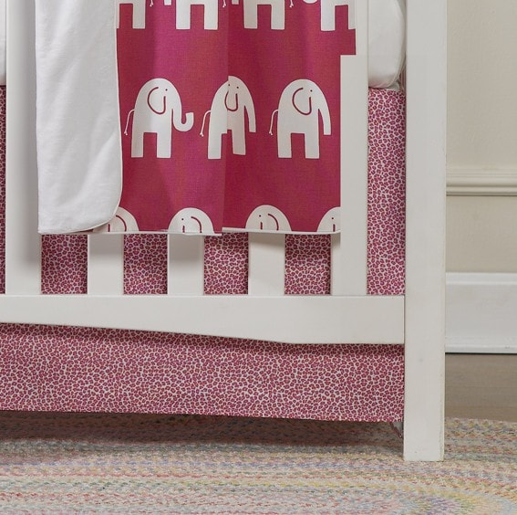 "Hot Pink Wild Crib Skirt 17"" Drop - liz-and-roo-fine-baby-bedding.myshopify.com - 1"