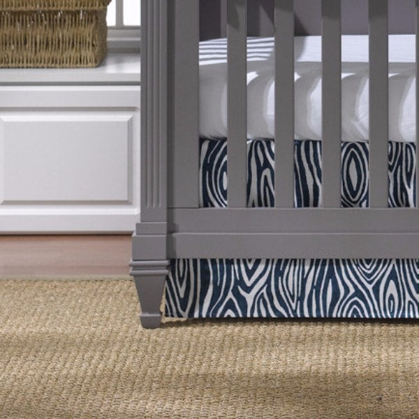 "Navy Willow Crib Skirt 17"" Drop - liz-and-roo-fine-baby-bedding.myshopify.com"