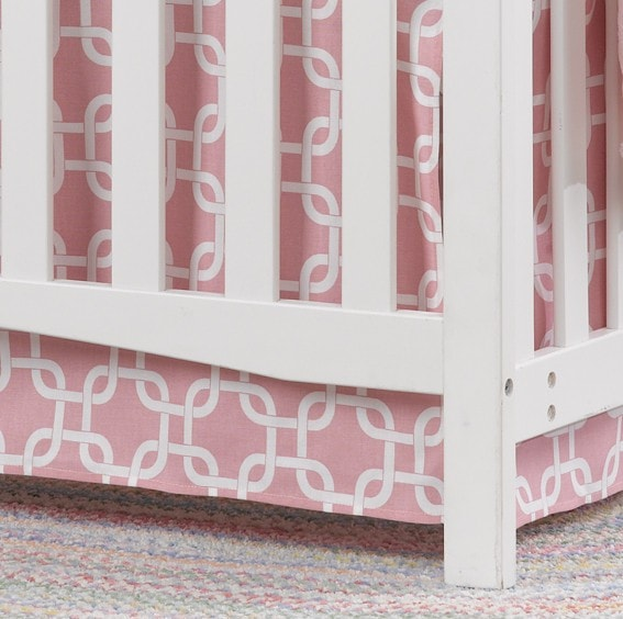 Pink Metro Crib Skirt - Second - liz-and-roo-fine-baby-bedding.myshopify.com