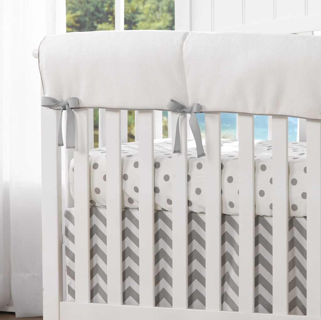 White Woven Crib Rail Cover (Gray Houndstooth Trim) - liz-and-roo-fine-baby-bedding.myshopify.com