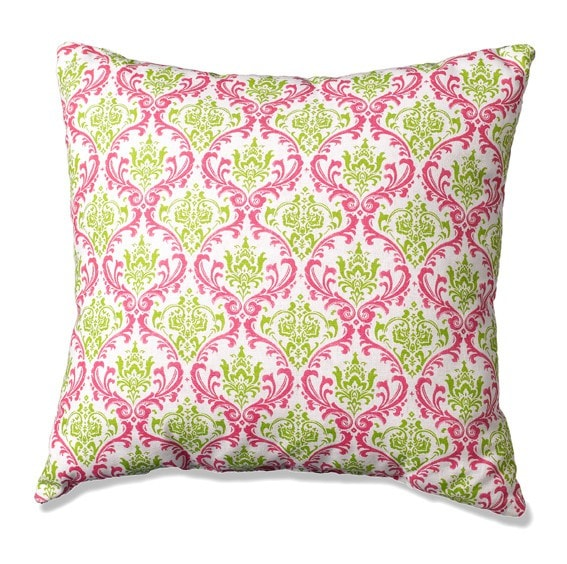 Maddie Damask (Pink and Green)  Accent Pillow - liz-and-roo-fine-baby-bedding.myshopify.com