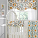 Mandarin Damask (Orange and Aqua) Window Treatments - liz-and-roo-fine-baby-bedding.myshopify.com - 2