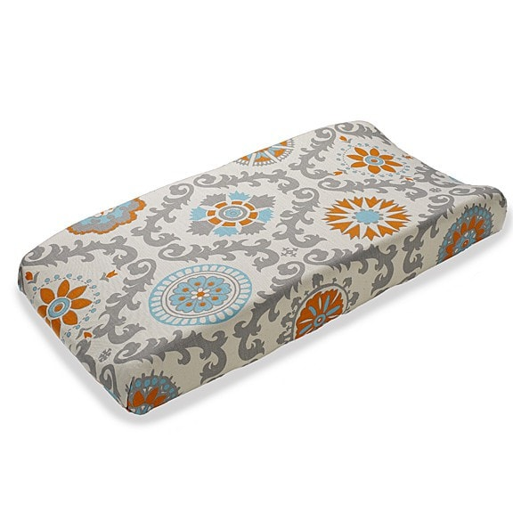 Mandarin Damask (Orange and Aqua) Contoured Changing Pad Cover - liz-and-roo-fine-baby-bedding.myshopify.com - 1