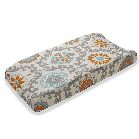 Mandarin Damask (Orange and Aqua) Contoured Changing Pad Cover