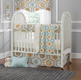 Mandarin Damask (Orange and Aqua) 4-pc. Crib Bedding Set with Free Baby Pillow Sham - liz-and-roo-fine-baby-bedding.myshopify.com - 2