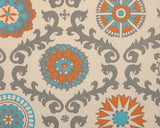 Mandarin Damask (Orange and Aqua) Window Treatments - liz-and-roo-fine-baby-bedding.myshopify.com - 1