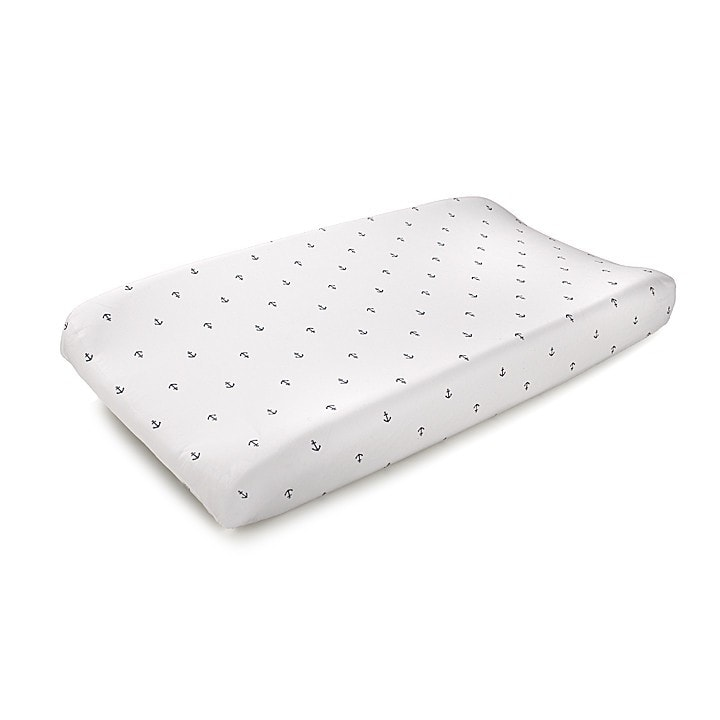 Navy Mini Anchors Contoured Changing Pad Cover
