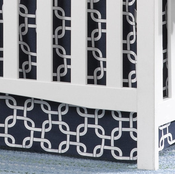 "Navy Metro Crib Skirt 17"" Drop - liz-and-roo-fine-baby-bedding.myshopify.com"