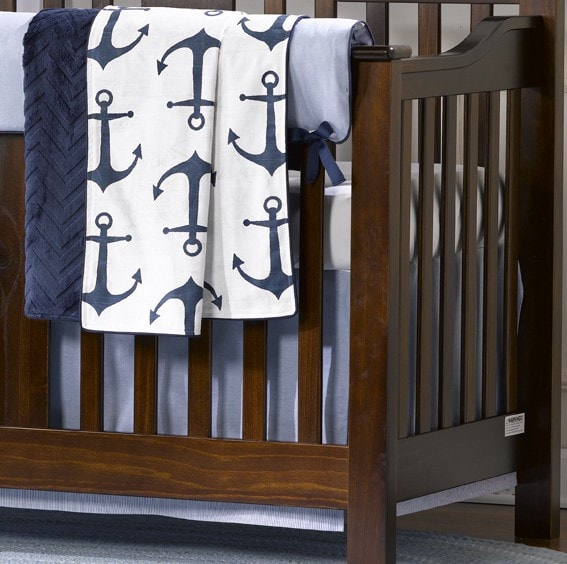 "Classic Blue Oxford Crib Skirt 17"" Drop - liz-and-roo-fine-baby-bedding.myshopify.com"