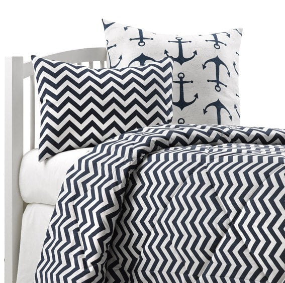 Navy Anchors Euro Sham - liz-and-roo-fine-baby-bedding.myshopify.com