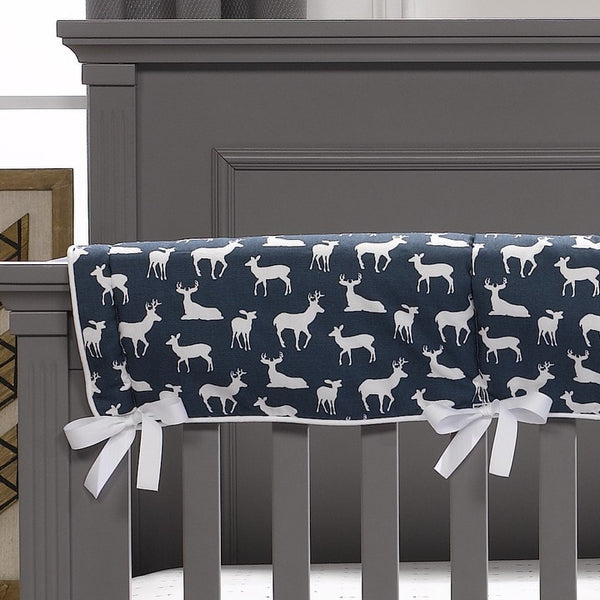 Navy Woodland Crib Rail Cover