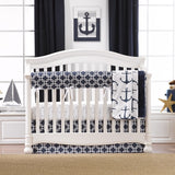 Navy Metro Anchors Crib Bedding (Bumperless) - liz-and-roo-fine-baby-bedding.myshopify.com - 1