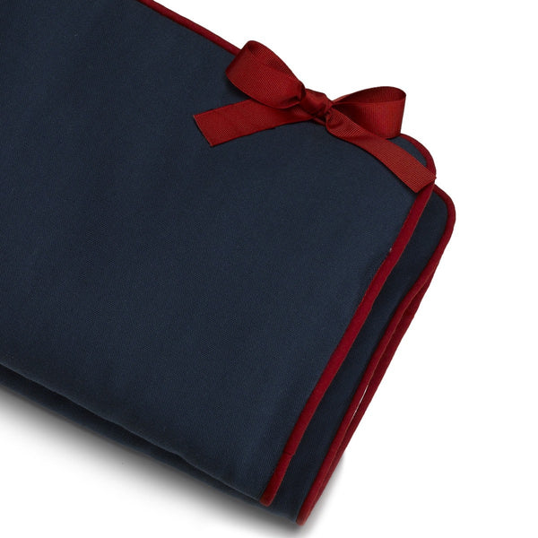 Navy Crib Rail Cover (Red Trim) - liz-and-roo-fine-baby-bedding.myshopify.com - 1