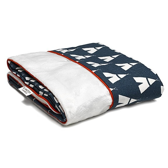 Navy Teepee Minky Receiving Blanket - liz-and-roo-fine-baby-bedding.myshopify.com