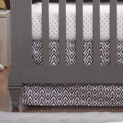 Navy Coral Archery Crib Skirt