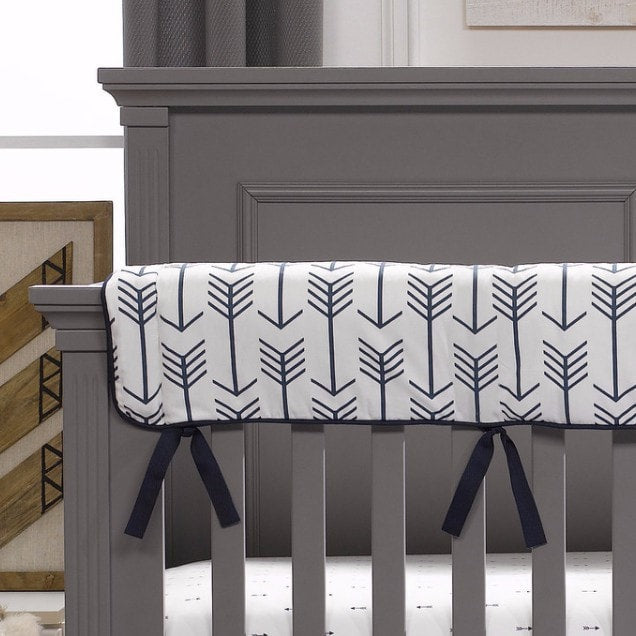 Navy Arrows Crib Rail Cover