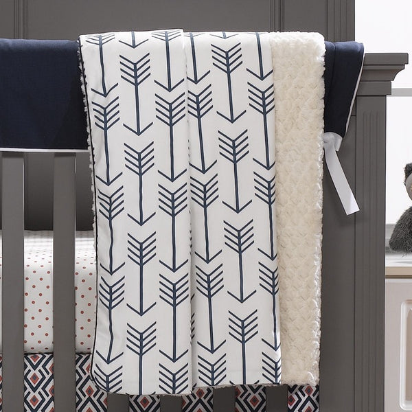 Navy Arrows Minky Receiving Blanket