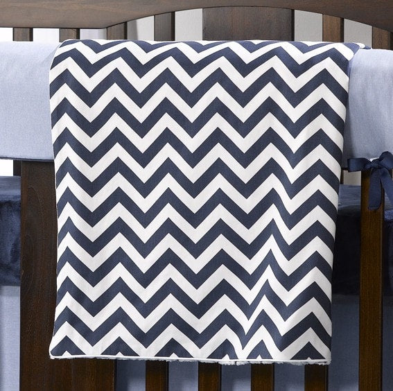 Navy Chevron Minky Receiving Blanket - liz-and-roo-fine-baby-bedding.myshopify.com