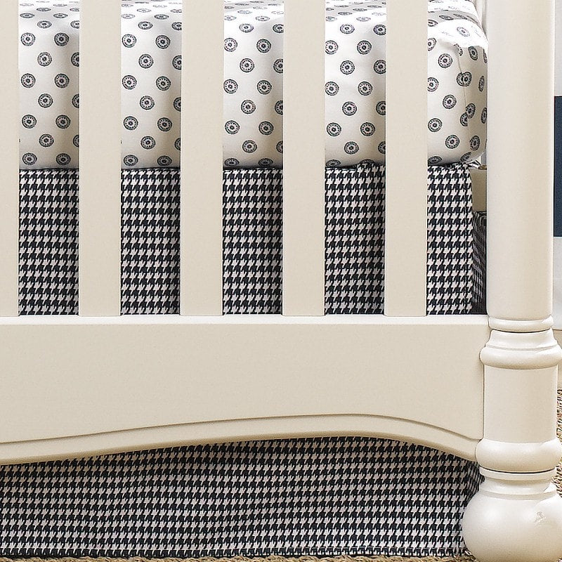 "Navy Houndstooth Crib Skirt 17"" Drop - 50% Off - Discontinued - liz-and-roo-fine-baby-bedding.myshopify.com"