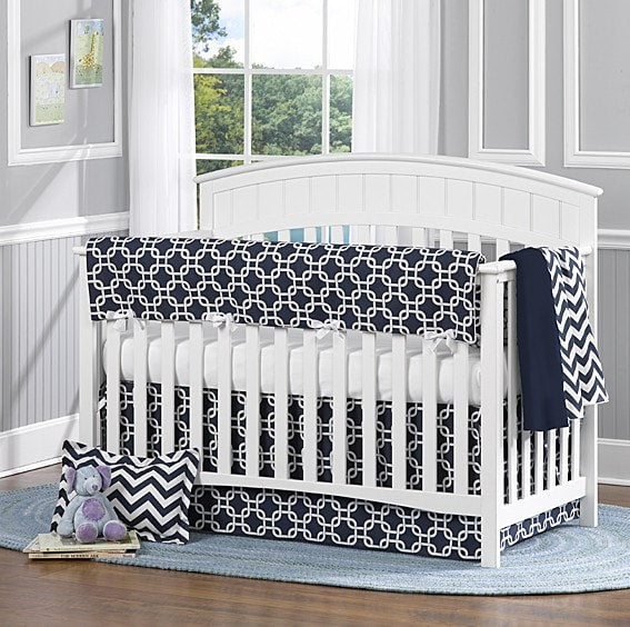 Navy Metro with Chevron Bumperless Crib Bedding - liz-and-roo-fine-baby-bedding.myshopify.com