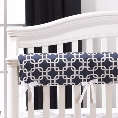 Navy Metro Crib Rail Cover