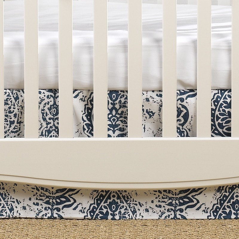 "Navy Tristan Crib Skirt 17"" Drop - liz-and-roo-fine-baby-bedding.myshopify.com"