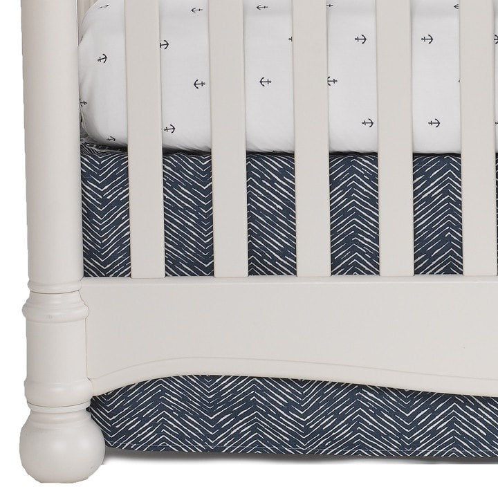 Navy Waves Crib Skirt