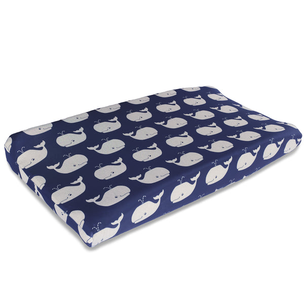 White Whale Tails Contoured Changing Pad Cover