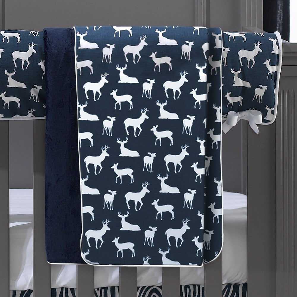 Navy Woodland (Deer) Minky Receiving Blanket - liz-and-roo-fine-baby-bedding.myshopify.com