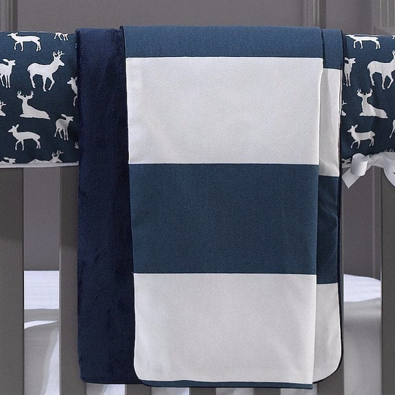 Navy Cabana Minky Receiving Blanket - liz-and-roo-fine-baby-bedding.myshopify.com