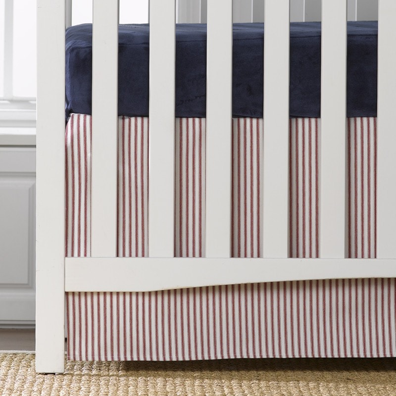 "Red/White Ticking Stripe Crib Skirt 17"" Drop - liz-and-roo-fine-baby-bedding.myshopify.com"